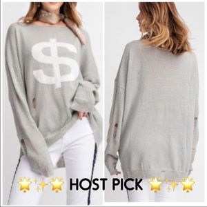 Heather Gray soft knit Distressed sweater